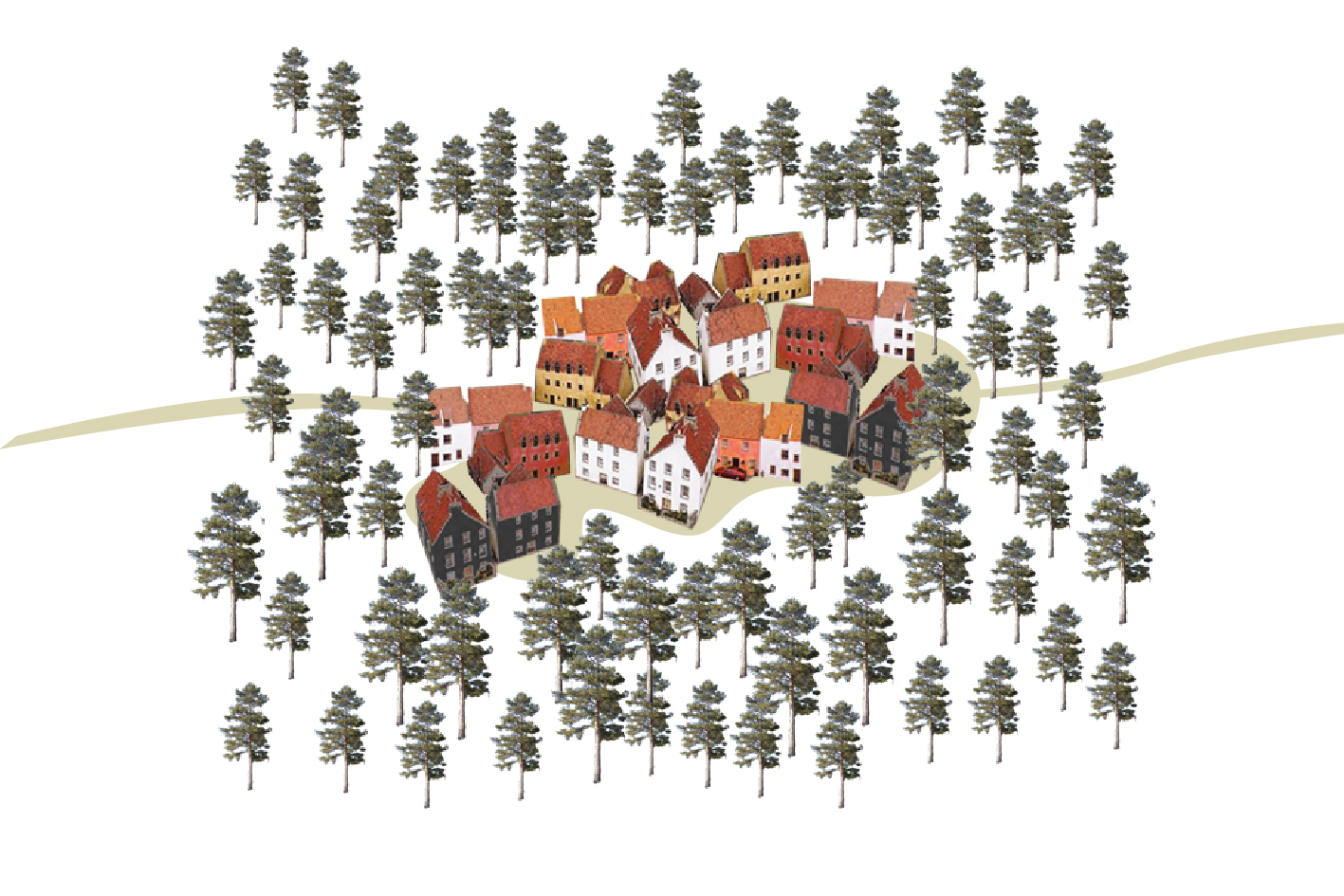 illustration of houses sheltered by trees, An Camas Mor. A new town to twin with Aviemore, Cairngorms National Park